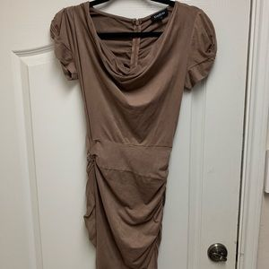Bebe suede like tan dress